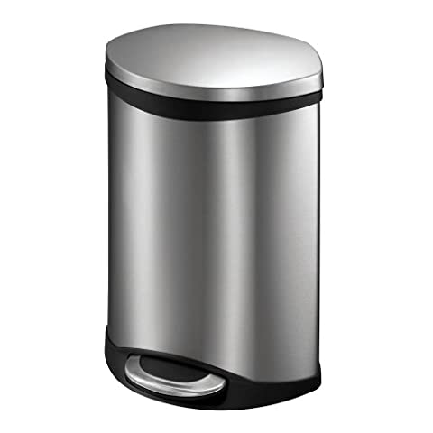 EKO 92180-1 Oblong Shell 1.5 Gallon Stainless Steel Step Trash Can with Lid | 6 Liter Metal Waste (6 Stainless Steel Trash Ring)