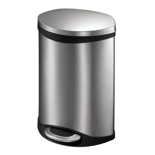 EKO 92180-1 Oblong Shell 1.5 Gallon Stainless Steel Step Trash Can with Lid | 6 Liter Metal Waste Bin