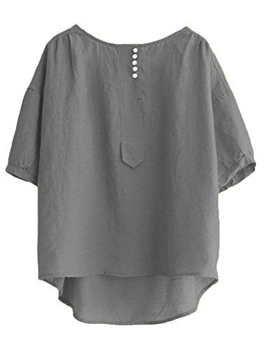 Minibee Women's Hi-low Tunics Blouse Loose Linen Shirt Tops M Gray by Minibee (Image #1)