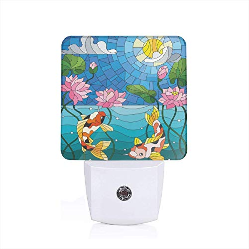 (Colorful Plug in Night,Stained Glass with Asian Details Mosaic Lotus Flowers Sun Fish Oriental Work,Auto Sensor LED Dusk to Dawn Night Light Plug in Indoor for Childs Adults)