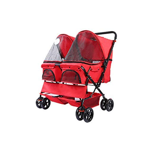 Pet Stroller Many Pet Dogs Cats Carts Sun Rain Shock Wear Predection Wear Resistant for All Kinds Animals,RED