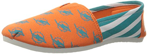 Forever Collectibles NFL Miami Dolphins Women's Canvas Stripe Shoes, X-Large (10), Green