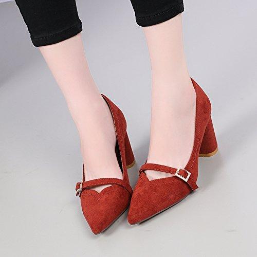 KHSKX-La Caída De Gamuza Con Poca Boca Con Gruesos Zapatos De Punta Hebilla De Cinturon Todos Coinciden Con Zapatos De Tacón 7 5 Cm De Ocupación Brick red