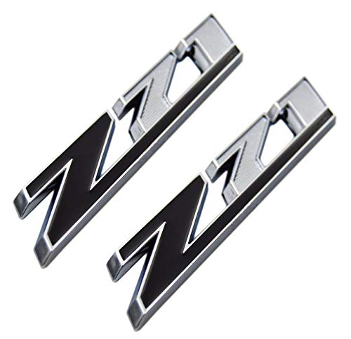 2x Z71 Emblem ABS Badge for GMC Chevy Silverado 1500 2500 Sierra Chrome Black ()