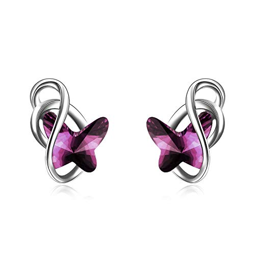 AOBOCO 925 Sterling Silver Purple Butterfly Stud Earrings with Created Amethyst Swarovski Crystals Hypoallergenic Fine Jewelry Gift for Women - Sterling Purple Earrings