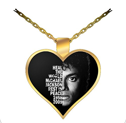 [Michael Jackson Heal The World Gold-Plated Heart Necklace Gift Idea for Woman or Her - Prince of Pop Pendant] (Zombie Michael Jackson Costumes)