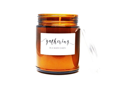 Gathering in a Warm Cabin Soy Candle in Amber Glass Jar with Silver Lid