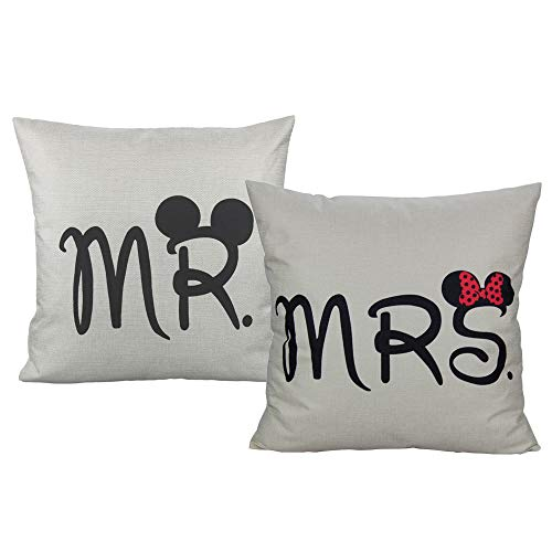 VAKADO Mr & Mrs Throw Pillow Covers Decorative Wedding Gift Couples Cushion Cases Pillowcases Home Decor for Bed Bedroom Couch Sofa 18