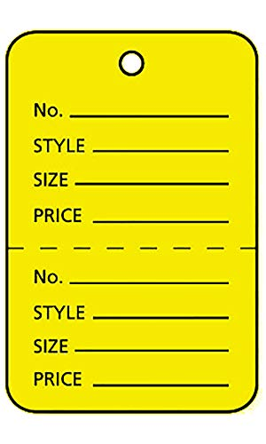 Large Unstrung Yellow Perforated Coupon Price Tags - 1,000 Included -