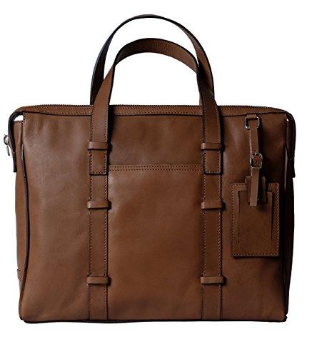 Genuine Leather Briefcase / Laptop Handbag for Men & Women, BAILEY, Compact Executive Bag fits 15.4 inch Laptop, 15 inch by 12 inch by 3 inch (Brown) by Ladderback