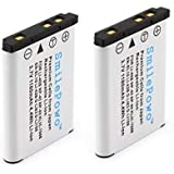 SmilePowo 2 Pack Batteries for LI-42B, LI-40B, NP-45, NP-80, EN-EL10, KLIC-7006, D-LI63, D-LI108, Olympus Stylus 1070, 1200, 7000, 7040, Tough 3000, TG-310, VR310, Digital Camera Light-compensating