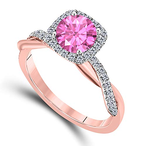(DreamJewels 2.00 CT Created Pink Sapphire Emerald Cut Celebrity Halo Twisted Shank Bridal Engagement Wedding Ring 14k Rose Gold Finish Alloy for Women's)