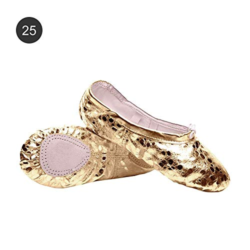 Split and Children's wolves Girls Ballet Adult's Sizes Shoes Yoga Dire Gold Flat Dance Sole Gymnastic Shoes Ladies 48w1pOqx
