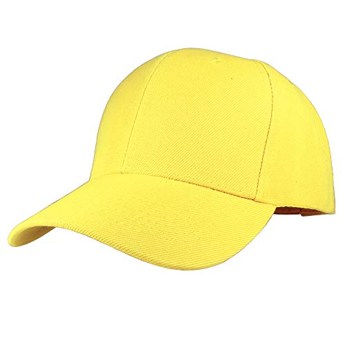 Gelante Plain Blank Baseball Caps Adjustable Back Strap Wholesale Lot 6 Pack (Yellow)