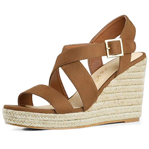 (Allegra K Women's Espadrilles Platform Slingback Brown Wedges Sandals - 8.5 M US)
