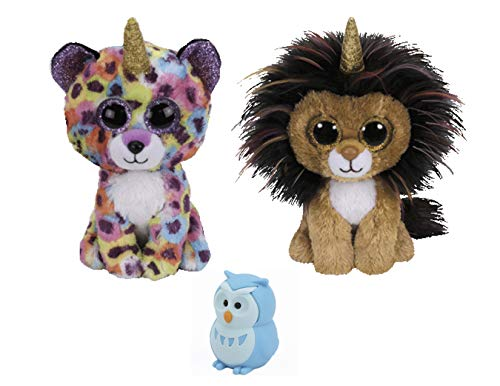 Plush Toys Stuffed Animals & ONE Bonus Animal Eraser Or ReBL Gift Bag | Plush, Soft, Cuddly, Cute Kids Toys with Sparkling Eyes | for Boys & Girls, Birthday Gift Sets (Lion & Leopard) ()