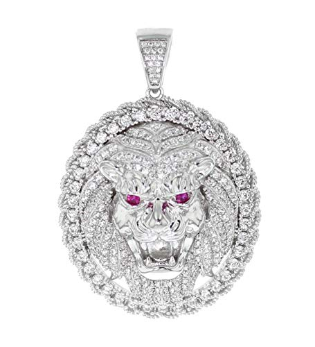 Midwest Jewellery Lion Head Pendant Round Medallion White Gold-Tone Silver and Cz 2 Inch Tall