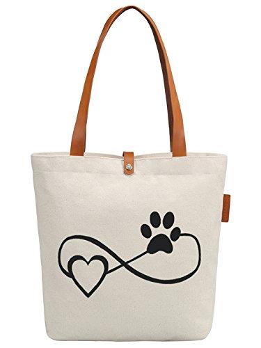 So'each Women's Love Pets Graphic Top Handle Canvas Tote Shoulder Bag