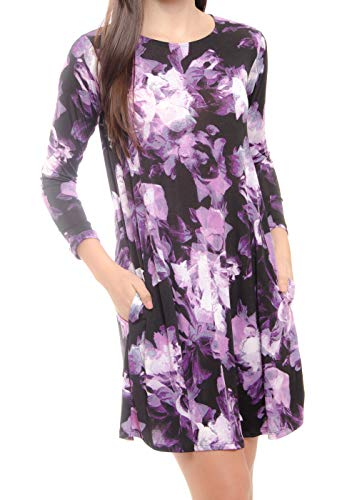 Black Mulberry Long Sleeve Casual Dresses with Pockets for Woman Floral Print Peach Skin B42   US 16   X-Large ()