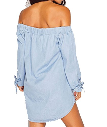 Women Bardot Shoulder 8 Dress Summer Light Denim Shirt UK Long Ladies Top Sleeve Off Button Denim 16 RxRtUHr