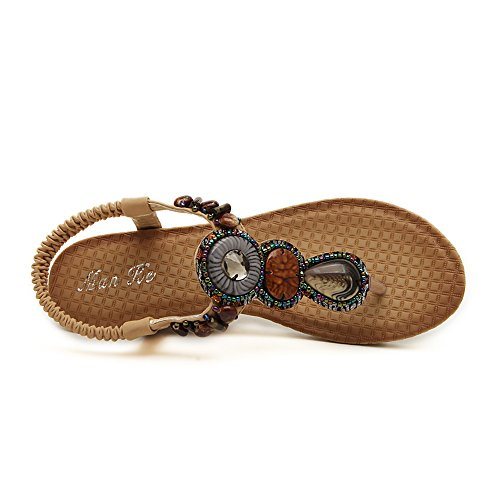 Womens Shoes Sandals Wedges Summer Fashion Thong Beaded Slingback Ankle Strap Medium Heel Sandals Beige bWOAk