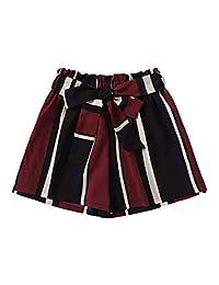 SHEIN Pantalones Cortos a Cuadros con Bolsillo Lateral en la Entrepierna y Cintura para Mujer, Striped, M