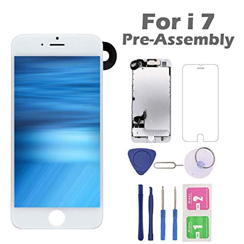 (for iPhone 7 Screen Replacement, Arotech Pre-Assembled 4.7 Inch LCD 3D Touch Display Digitizer Assembly Kit with Repair Tool, Compatible with A1660, A1778, A1779 All Version (White) )