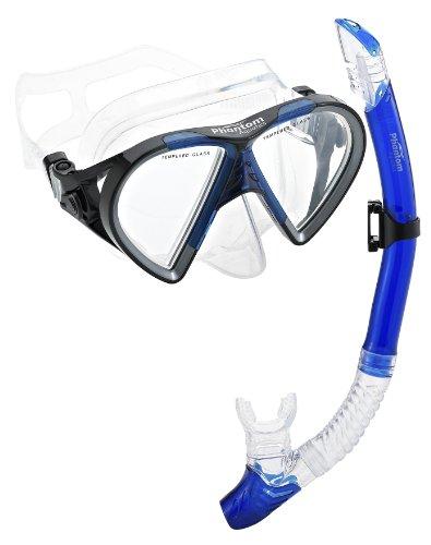 (Phantom Aquatics Cancun Mask Snorkel Combo, Blue)