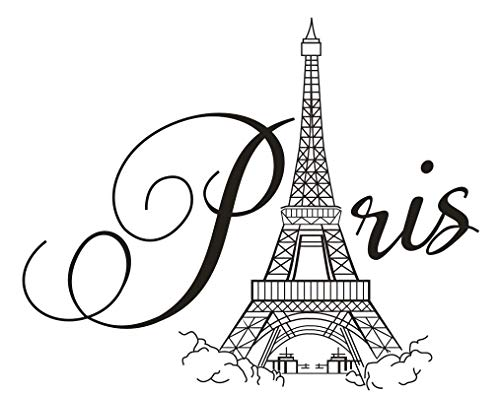(Boodecal Paris Eiffel Tower Wall Decals Lettering Quotes Wall Stickers Romance Decoration Living Room Bedroom)
