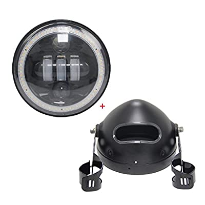 """VOSICKY 5.75 Inch Led headlights Daymaker housing bucket for Harley Davidson motorcycle with h4 led Daymaker 5""""3/4 50w black motor angel eyes"""