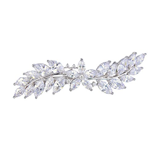 EVER FAITH Women's CZ Marquise-Shaped Hibiscus Flower Leaf Hair Barrette Clip Clear Silver-Tone