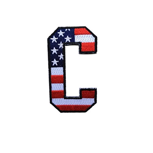 USA American Flag Mini Captain C Patch Iron On for Jersey Football, Baseball, Soccer, Hockey, Lacrosse, Basketball ()