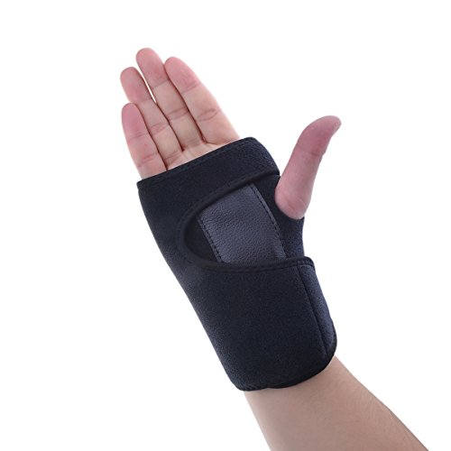 Parateck Adjustable Neoprene Wrist Brace Support for Carpal Tunnel Tendonitis Wrist Pain Sports Injuries Right Hand Black
