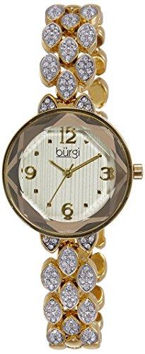 Burgi Women's BUR124YG Swarovski Crystal Accented Faceted Yellow Gold Bracelet Watch