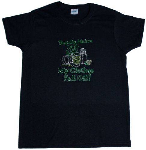 A+ Images, Inc. Tequilla Makes My Clothes Fall Off Rhinestone T-Shirt – Black, X-Large, Bags Central