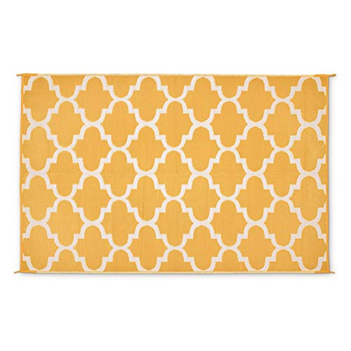 Guide Gear Moroccan Outdoor Rug, Mustard/White, 9X6 ()