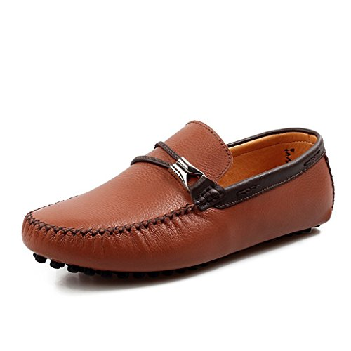 TDA Mens Round Toe String Classy Leather Loafers Driving Work Boat Shoes Brown