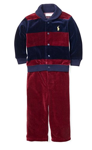 - Ralph Lauren Baby Boys' Striped Velour Set (6 Months, Vintage Red Port Multi)