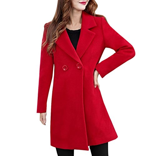 Forthery Women's Trench Coat Winter Long Jacket Double Breasted Overcoat (Tag XXXXL= US XXXL, Red) Closure Overcoat