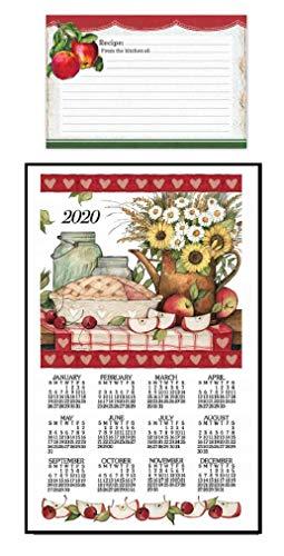 2020 Calendar Card - Kitchen 2020 Apple Pie Calendar Towel Bundle with Vintage Apples Recipe Cards