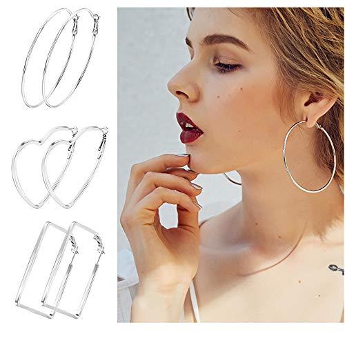 Lateefah 3 Pairs Big Hoop Earrings Stainless Steel Large Hoop earrings Silver Hoop Earrings for Women - Designer Steel Earrings Stainless