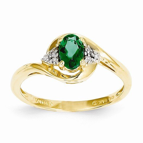 Size - 9.5 - Solid 14k Yellow Gold Diamond & Genuine Emerald Engagement Wedding Ring (.02 cttw.) (2mm) by Sonia Jewels