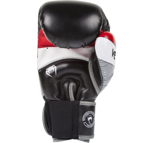 Venum Elite Boxing Gloves - Black/Red/Grey - 16-Ounce