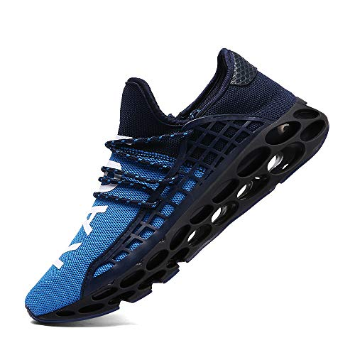 XIDISO Men Women Running Shoes Sneakers for Mens and Womens Fashion Casual Walking Shoes Outdoor Running Blade Sneakers Blue