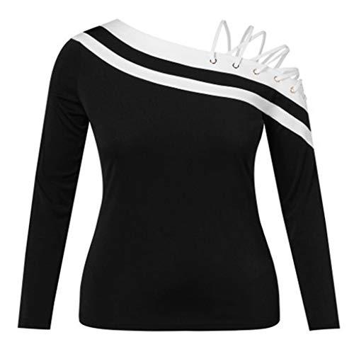 - 2019 Women Round Neck Strap Blouse,Ladies Long Sleeve Patchwork Off-Shulder Top (S, Black)