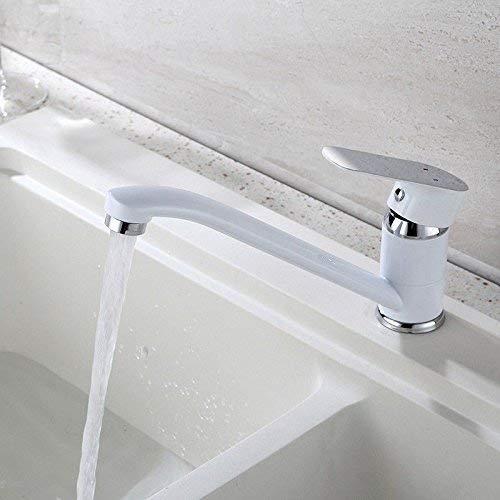 JingJingnet タップキッチンタップ洗面台の蛇口冷たいとお湯のミキサーバスルームのミキサー洗面器のミキサータップ銅長い口台所や浴室のタップのための温水と冷水の混合弁ホワイト (Color : 白) B07S9PM5ZL 白