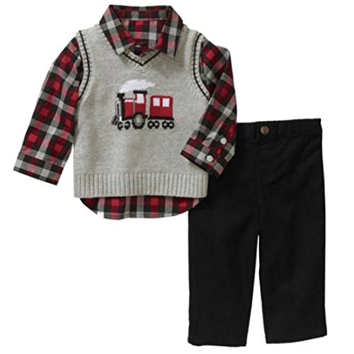 George Infant Boys 3P Holiday Outfit Gray Sweater Vest Plaid Shirt & Pants 3-6m (Vest Holiday Boys)