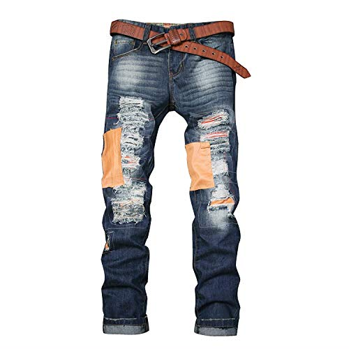 con Pantalones Ssig Pants Jeans Agujero Cotton Jeans Blue Men's Fashion Patch Joven Elástico Colour Rectos High Cómodo Soft BFAqwRq76
