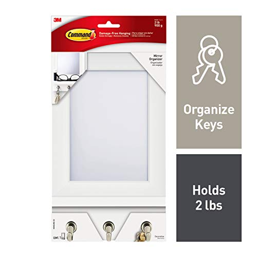 Command Mirror Organizer, Decorate Damage-Free, Indoor Use, 1 organizer, 8 strips (HOM24MQ-ES),Ivory