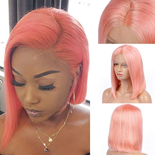 """Pink Bob Lace Wigs Pre Plucked Natural Straight Human Hair Wig for Black Women 150% Density Lace Front Wigs Middle Part with Natural Hairline 12"""""""
